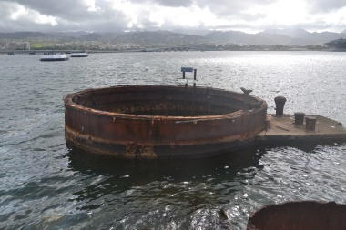 Part of the USS Arizona still under water.