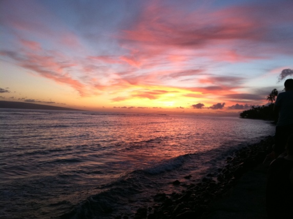Sunset in Lahaina on our first night.
