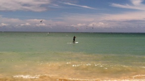 Beach at the bottom with Wind Surfers
