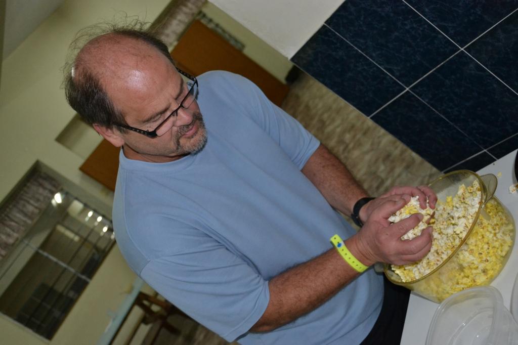Dr. Willet making popcorn.