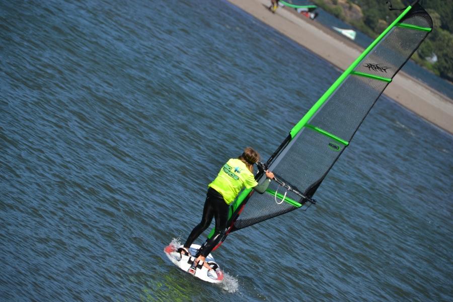 A kid wind surfing!