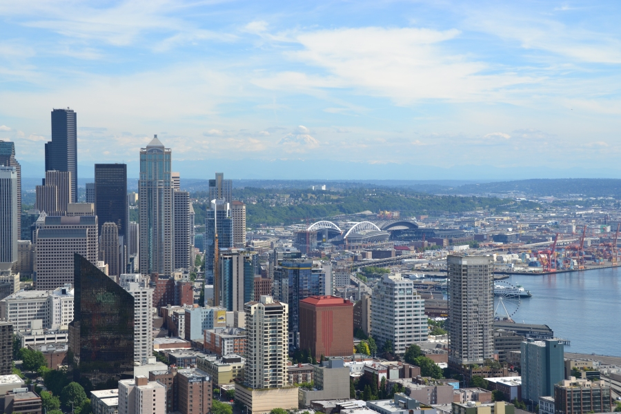 View from the top of the Space Needle. Can you see Mount Rainier in the background?