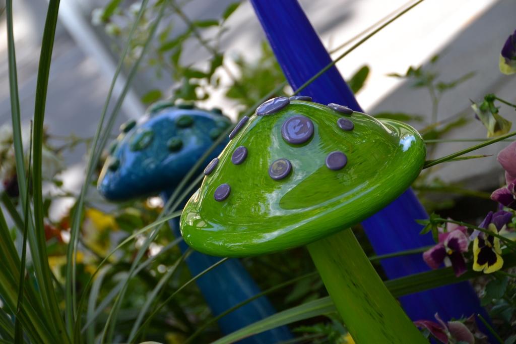 Glass lawn ornaments.
