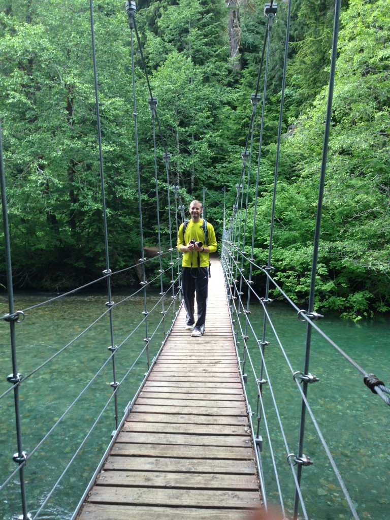 Dustin on the fun swing bridge!