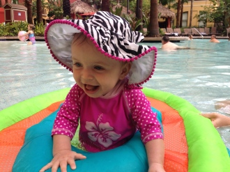 She loved the pirate pool where she could stand in her float!