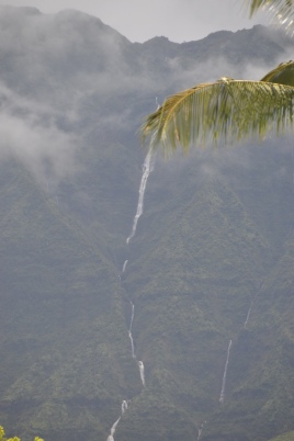 Waterfalls in the Hanali valley. Near Princeville, Kauaii