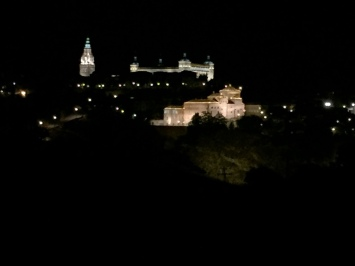 Toledo at night from the other side of the river.