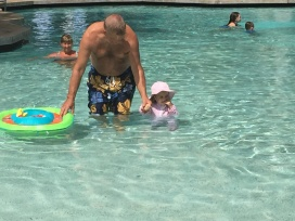 At the pool with Grandpa