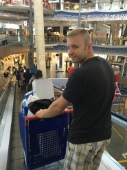 Carrefour taking the cart from the store through the mall to the parking lot!