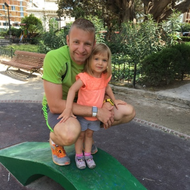 Dad and Kenley at the Parc