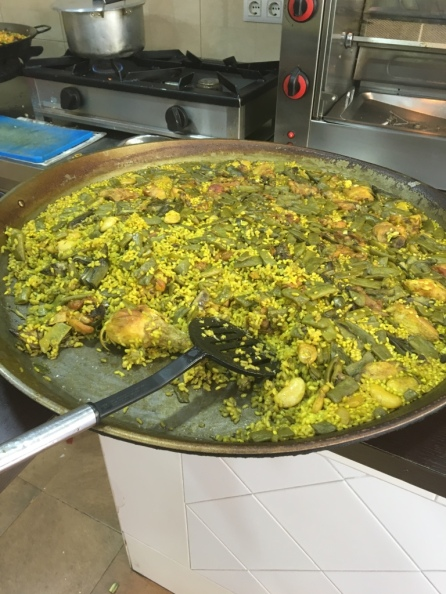 Up close to the Paella, a Spanish specialty.