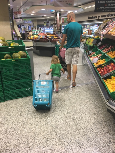 Being a big girl at the grocery!