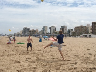 Dustin playing volleyball with Josh