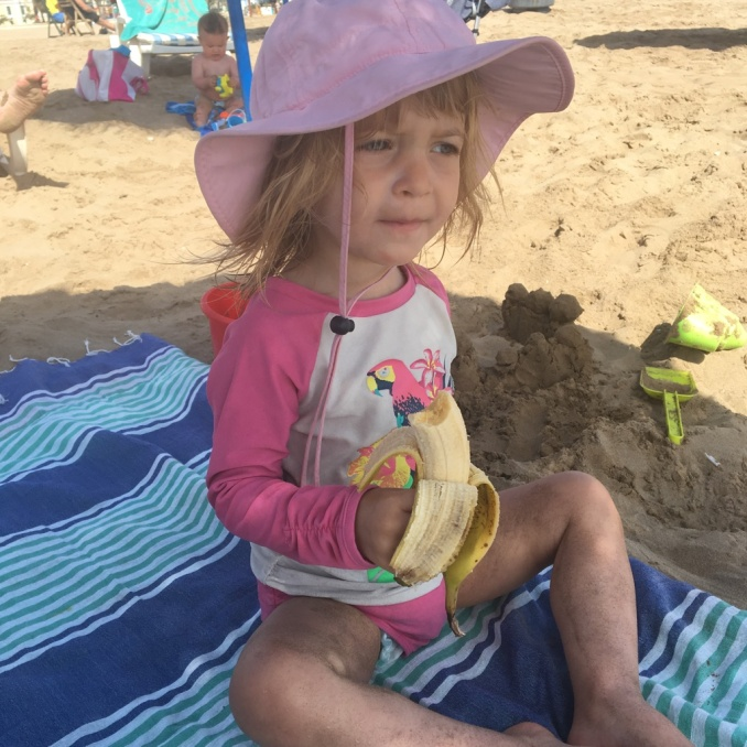 Loves to eat on the beach!