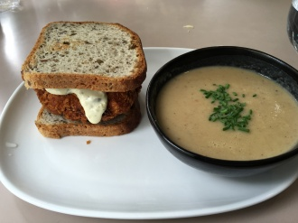 Salmon Burger and Soup!